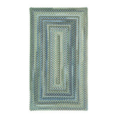"""Capel Rugs - Manchester Concentric Braided Rectangle Rug, Light Blue, 2'3""""x4' - Area Rugs"""