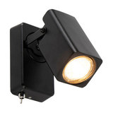 Modern Square Adjustable Wall Spotlight Black with Switch - Warden