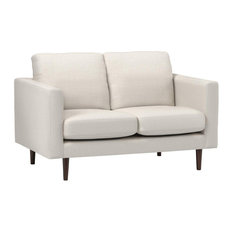 Modern Loveseat Polyester Upholstery With Tapered Legs Linen