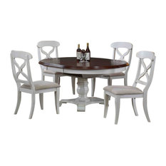 1st Avenue - Bordeaux Butterfly Leaf Dining Table, Antique White and Chestnut Top - Dining Sets