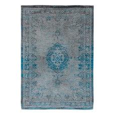 Fading World Area Rug, Medallion Turquoise Grey, 140x200 cm