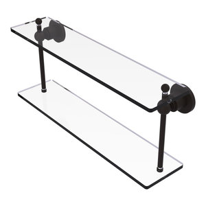 Allied Brass AP-2TB//22 Astor Place Collection 22 Inch Two Tiered Integrated Towel Bar Glass Shelf Oil Rubbed Bronze
