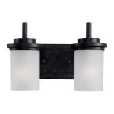 black vanity lighting. Sea Gull Lighting - 2-Light Winnetka Bath Sconce, Blacksmith Bathroom Vanity Black I
