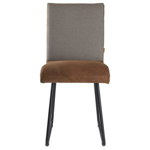 Faux Leather Seat Upholstered Chair, Dark Brown