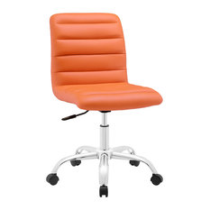 lexmod ripple mid back office chair in orange office chairs armless office chair wheels