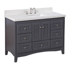 "Abbey Bath Vanity, Base: Charcoal Gray, 48"", Top: Quartz"