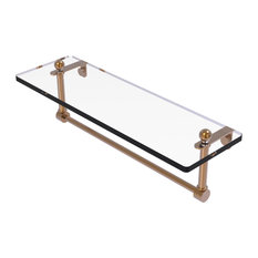 """16"""" Glass Vanity Shelf with Integrated Towel Bar, Brushed Bronze"""