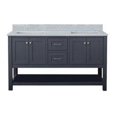 "Wilmington 60"" Double Bathroom Vanity With Carrera Marble Top, Gray"