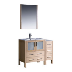 "Torino 42"" Light Oak Modern Bathroom Vanity, Side Cabinet, Integrated Sink"
