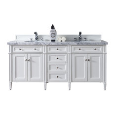 "Brittany 72"" Cottage White Double Vanity 3CM Arctic Fall Solid Surface"