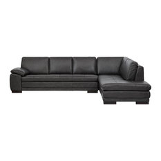 P16 - Cercis Leather Sectional Right Chaise Gray - Sectional Sofas  sc 1 st  Houzz : grey leather sectional couch - Sectionals, Sofas & Couches