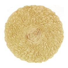 "Bell Flower Bath Rug 30"" Round Yellow"