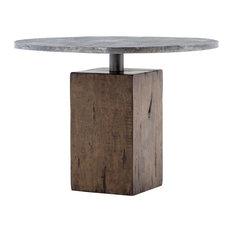 """Rustic Industrial Wood Block Pedestal Metal Bistro Table 42"""""""