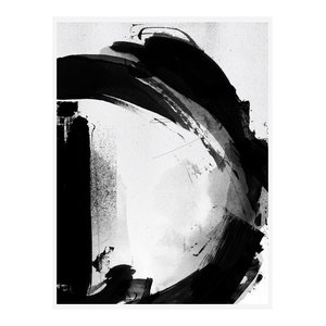 Letter D Monochrome Abstract Art Print, Print Only, 50x70 cm