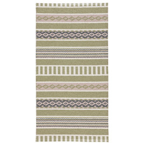 Linne Woven Floor Cloth, Olive and Pink, 70x210 cm