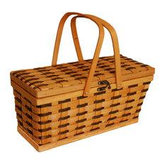 Tuscana Two-Tone Wooden Weave Picnic Basket