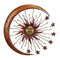Metallic Hammered Metal Sun, Moon, Stars Outdoor Decor