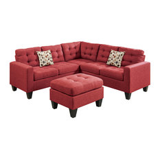 Linen-Like 4 Piece Sectional with Ottoman Set, Carmine