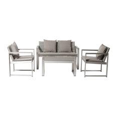 Chester 4-Piece Sofa Set, Gray/Gray