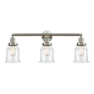 Canton 3-Light Bath Fixture, Clear Glass, Satin Brush Nickel