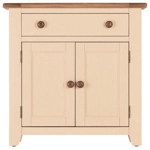 Champagne Painted Oak Mini Sideboard With Cupboard and Drawer