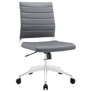 Modern Contemporary Office Chair, Gray Faux Leather