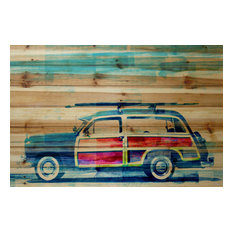 """""""Surf Day"""" UV Ink Print on Natural Pine Wood, 36""""x24"""""""