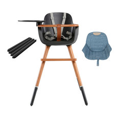 Ovo City Anthracite High Chair With Seat Pad, Denim, Anthracite Extensions