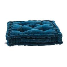 Bendinat Velvet Seat Cushion, Petrol