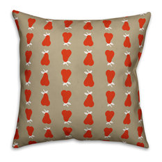 """Pear Pattern, Red Outdoor Throw Pillow, 20""""x20"""""""