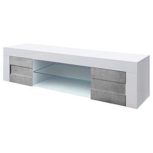 Easy II High Gloss TV Unit, Stone Imitation Fronts, 181 cm