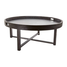 Dimond - Dimond Round Black Teak Coffee Table Tray, Brown - Coffee Tables