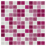 """Susan Jablon Mosaics - 12""""x12"""" Pink Raspberry Glitter and White Glass Tile Mix, Full Sheet - This glass tile blend of 3 different glass tiles in shades of pink and raspberry glitter glass tile and white glass tile are combined to form this custom mosaic blend we will make by hand for you in our studios in upstate New York.Perfect for a backsplash or a feature wall in a walk in shower, this tile is also exterior rated for pools."""