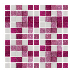 "12""x12"" Pink Raspberry Glitter and White Glass Tile Mix, Full Sheet"