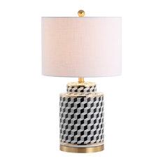 """Ellie 24.5"""" Tumbling Block Ceramic, Metal LED Table Lamp, Black"""
