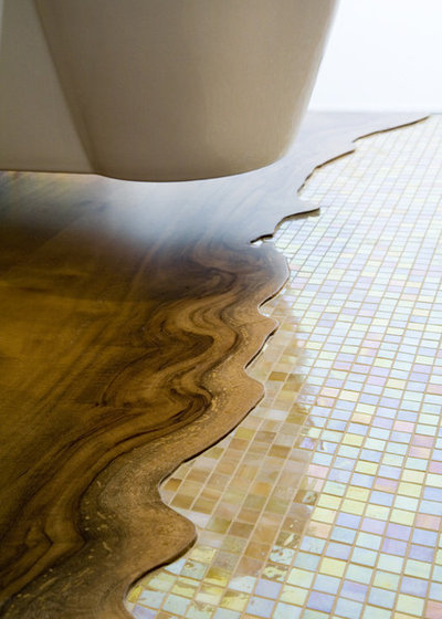 Tile To Wood Floor Transition if hardwood planks lie perpendicular to a tile floor short cut ends border the tile its usually best to border the wood in its own material 1 2 rows Transitions In Flooring Contemporary Bathroom By Mark English Architects Aia