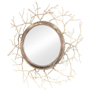 Luxe Rustic Tree Trunk Wall Mirror Silver Abstract Faux Bois Branch Contemporary Wall Mirrors By My Swanky Home Houzz