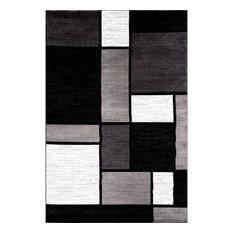 Alpine Modern Boxes Gray Area Rugs, 3'x5'