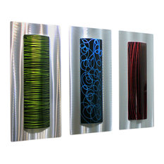 Silver, Red, Black, Green and Blue 3-Piece Metal Wall Accent, Sensory Overload