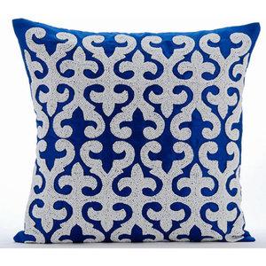 Art Silk Blue Pillow Case 18x18 Trellis Throws For Sofa Geometric Contemporary Lattice Decorative Pillow Cover Arabic Moroccan Blue