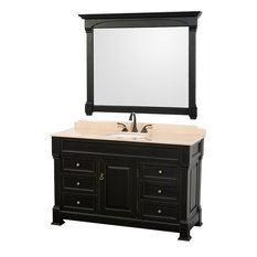 "55"" Single Bathroom Vanity With Undermount Sink With Ivory Marble Top, Mirror"