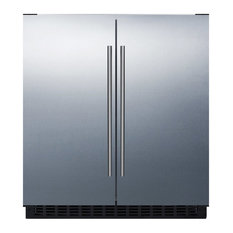 "Summit Lamp Corp. - Summit 30"" Side-by-Side Compact Refrigerator and Freezer in Stainless Steel - Refrigerators"