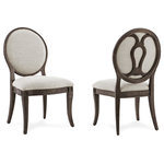 A.R.T. Furniture - A.R.T. Home Furnishings St. Germain Oval Back Side Chairs, Set of 2 - Inspired by the nineteenth century French Louis Philippe style, the Saint Germain Oval Back Side Chair is both classic and contemporary. Decorative stretchers on the chair back, carved details at the seat corners and gently splayed legs echo the collection's traditional style; textured linen upholstery and a dark wood framed finished to bring out the grain have a contemporary feeling. The Saint Germain Oval Back Side Chair can be used as part of a dining group or as a useful occasional chair.