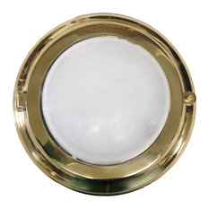 Solid Brass Round Flush Light (Brass & Chrome Finish), Lacquered Brass, Frosted