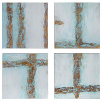 Cross Roads Contemporary Hand Painted Abstract Artwork, 4-Piece Set