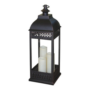 San Nicola Triple Led Candle Lantern, Bronze
