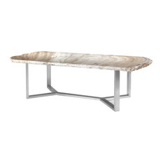 102-inch L Dining Table One Of A Kind Solid Onyx Stone Slab Stainless Steel Base