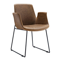 Modern Contemporary Dining Leather Armchair, Brown, Vinyl Leather