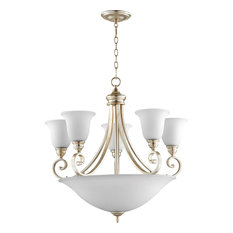 Quorum Bryant 9-Light Bowl Chandelier, Aged Silver Leaf