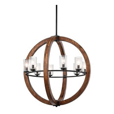 Grand Bank Chandelier 8-Light, Auburn Stained Finish